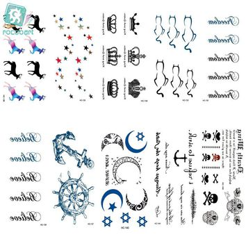 Rocooart HC126-150 Temporary Tattoo Stickers Imperial Crown Love Anchor Fake Tattoo Small Scars Cover Body Art Tattoo Stickers