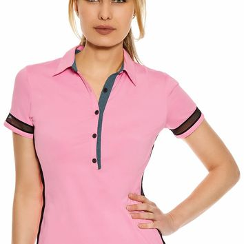 Sisley Mesh Tape Trim Golf Polo Shirt