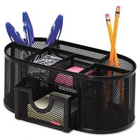 Rolodex Mesh Collection Oval Supply Caddy, Black (1746466)