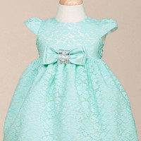 Solid Baby Lace Dress with Satin Bow
