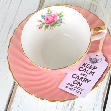 Vintage English Bone China by Aynsley, Tea Cup and Saucer, Baby Girl Shower, Gifts for Her, Wedding Gift - c. 1934 - 1950's