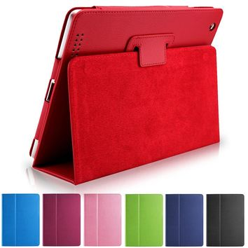Business Flip Litchi Leather Case For ipad2/3/4 Smart Stand Holder For Apple ipad 2 3 4 Magnetic Auto Wake Up Sleep Cover