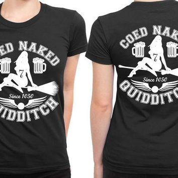 DCCKG72 Coed Naked Quidditch 2 Sided Womens T Shirt