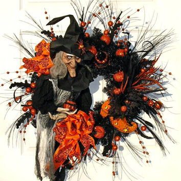 Witch Wreath / Halloween Wreath / Black Wreath / Witch Halloween / Halloween Decor / Black and Orange / Jack O Lantern / Witch Shoe