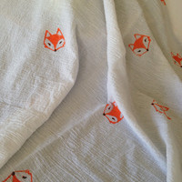 Fox Hand stamped 100% cotton Muslin swaddling blanket