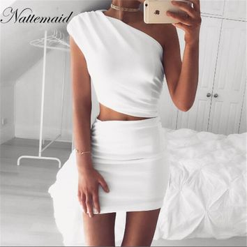 NATTEMAID 2017  New Arrival Women Evening Party Sexy Bodycon Dress one shoulder white dresses Girls Ladies Short Pencil Vestidos