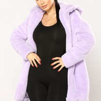 Christal Faux Fur Hooded Jacket - Lavender
