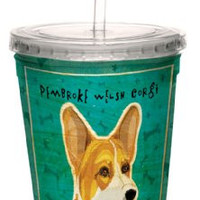 Tree-Free Greetings cc34044 Pembroke Welsh Corgi by John W. Golden Artful Traveler Double-Walled Cool Cup with Reusable Straw, 16-Ounce