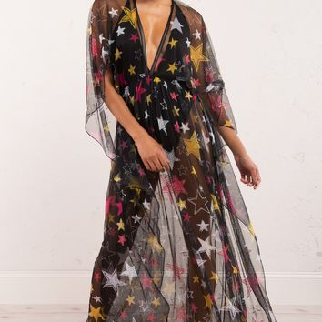 Black Mesh Star Print Rhinestone Detail Maxi Dress - AKIRA