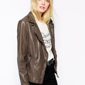 Muubaa Reval Leather Biker Jacket - Hard gray