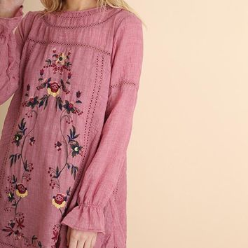 Umgee Mauve Embroidered Dress
