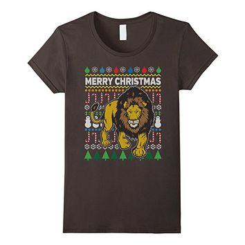 Lion Wildlife Series Merry Christmas Ugly Sweater T-shirt