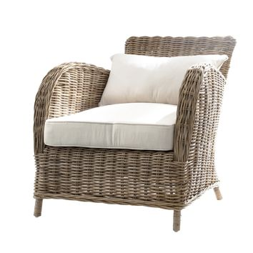 Wickerworks Knight Chair with seat & back cushions Natural Grey
