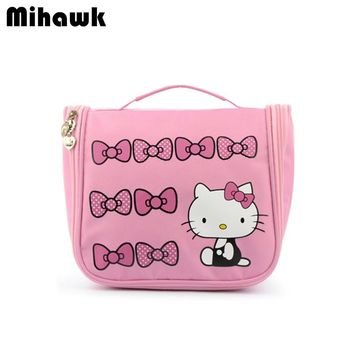 Hello Kitty Hanging Cosmetic Toiletry Bag Travel Organizer Beautician Necessary Functional Makeup Pouch Case Accessories Supply