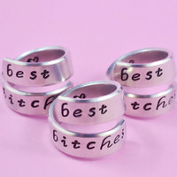 best bitches - Spiral Rings Set (3 Rings), Hand Stamped, Shiny Aluminum, Friendship, BFF Gift, Script Font