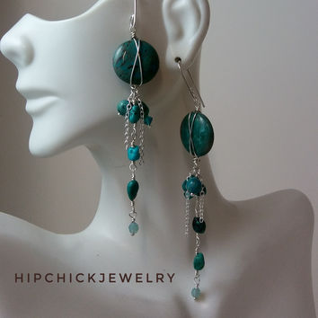 Long gemstone X earrings w fringe cluster, blue sky jasper, turquoise, swarovski crystal, silver
