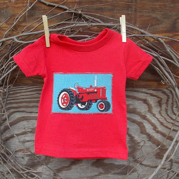 Baby Boys Clothes Red Tractor, red T shirt, 6, 12 and 18 months, tractor appliques