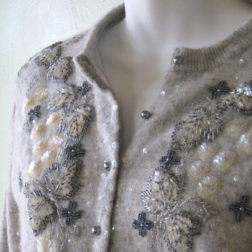 Heathery Beige-Grey Bead & Sequin Embellished Angora Cardigan - Largeish Medium Flower and Butterfly Beaded Vintage Cardi/Jumper/Button-Up