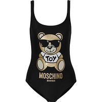 Moschino Teddy Bear Printed Swimsuit Bodysuit One Piece Swimwear Bikini Swimsuit