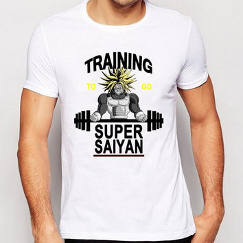 New fashion men's letter printed t-shirt super saiyan traning to go cartoon design male tops hot sale popular funny tee