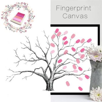 funlife Creative Fingerprint Tree Wedding Decoration Party Birthday Guest Book DIY Wall Poster Frameless Home Decor Wall Sticker