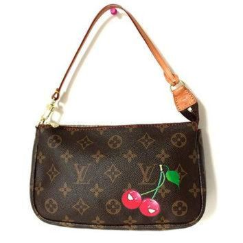 VLX9RV Louis Vuitton CHERRY CERISE Pochette Takashi Murakami Monogram Canvas Pochette Bag Acc