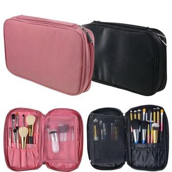 LMFUS4 Nylon Makeup Brush Organizer Travel Cosmetic Toiletry Bag Multifunction Zipper Makeup Brush Storage Pouch Bag GUB#