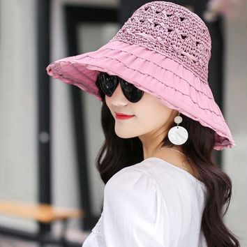 Wide Brim Collapsible Straw Hat