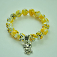 Yellow Beaded Bracelet, Owl Charm Yellow / White Bead Bracelet, Women Bracelet, Women Summer Jewelry, Handmade Yellow Bracelet