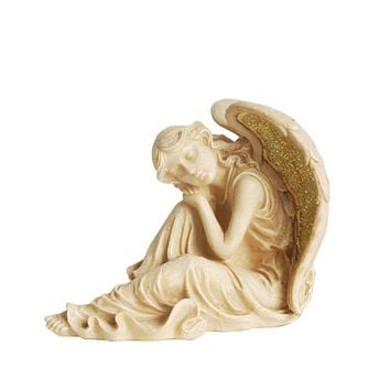 """12"""" Distressed Ivory & Golden Mosaic Glass Winged Religious Resting Angel Outdoor Patio Garden Statue"""