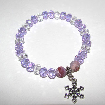 Lilac Crystal beaded bracelet Stretch cord Adjustable Layering Charm snowflake Boho Bohemian Shabby chic Artisan style Christmas gift Party