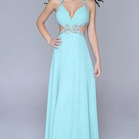 Nina Canacci Low Cut Halter Prom Dress
