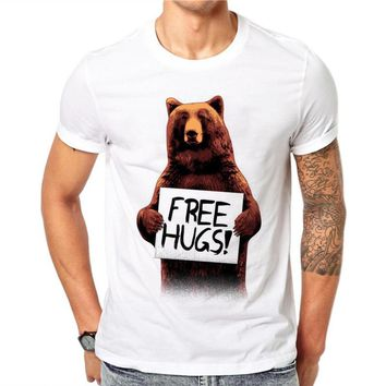 100% Cotton Cartoon Design Summer Short Sleeves Novelty Free Hugs Bear Print Men Fashion White Tees T-Shirts Top Shirt