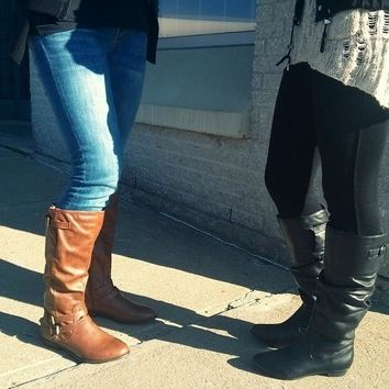 Brown Leather Knee High Boots   Steve Madden Craave Boot