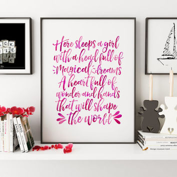 Here Sleeps A Girl,Nursery girls,Nursery Wall Decor,Nursery Decor,Quote Prints,Kids Room Decor,Children Room Art,Printable Art,Typogrpahy