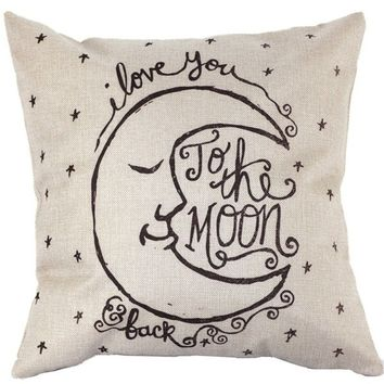 Pillows Vintage Cover I Love You to the Moon and Back Square Throw Pillow Case, Home Decoration