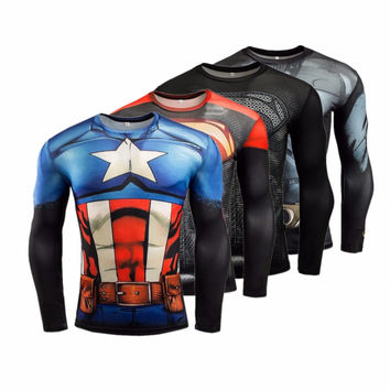 Summer Compression Shirt Men T-shirt 3D Superman Captain America Batman Spiderman Iron Man Fitness Crossfit tshirt Male Clothing