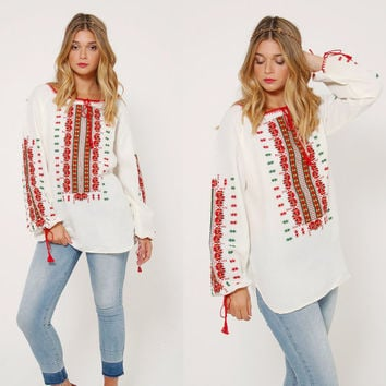 Vintage 70s EMBROIDERED Peasant Top White Hungarian Cotton HAND STITCHED Boho Tunic Hippie Blouse Gypsy Tunic