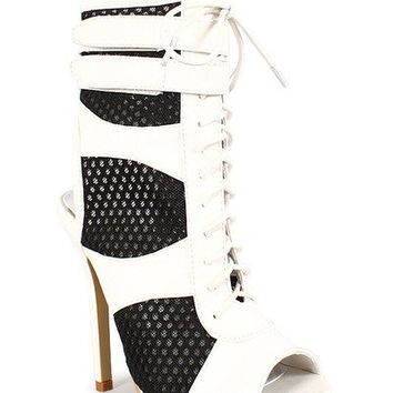 Liliana Maxim 5 Mesh Cut Out Booties in Black and White | shoes heels high heel shoes trendy shoes stilettos