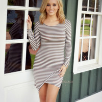 On Edge Taupe Striped Bodycon Dress