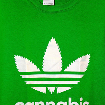 Cannabis adidas T-shirt.Screenprinted at Le RockShop