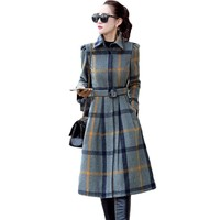 Fashion Classic OL Style Fall Winter Plaid Belted Trench Coat Single-breasted Long Sleeve Overcoat for Women 3XL Plus Size XH942