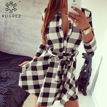 ROGREZ Summer Dress Women High Waist Casual Dress Preppy Long Sleeve Mini Dresses Loose Short Women Plaid Dress