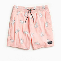 """Barney Cools Poolside 17"""" Pink Hands Swim Short - Urban Outfitters"""