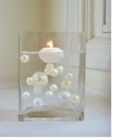 Unique Elegant Vase Fillers - 40 Jumbo & Assorted Sizes Ivory Pearls and White Pearls - To float the Pearls you will need to order the Transparent Water Gels Packets - Sold Separately...