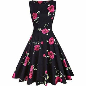 Vintage 1950's Floral Spring Garden Rockabilly Swing Prom Party Cocktail Dress