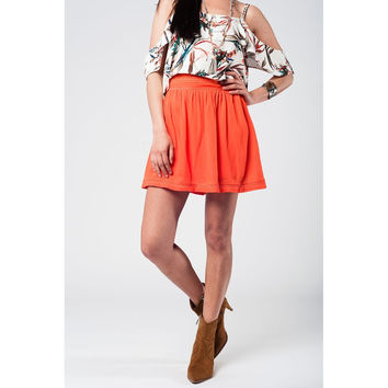 Aztec orange mini skirt