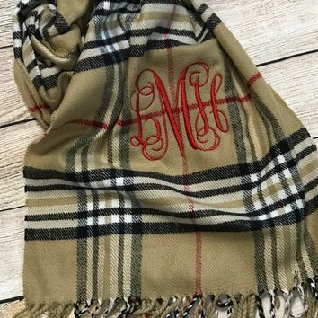 Cashmere Feel Scarves w/ Monogram