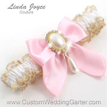 """White and Pink WEDDING GARTER Pearl Bridal Garter """"Michaela"""" 112 White-145 Light Pink Gold Prom Garter Plus Size & Queen Size Available too"""