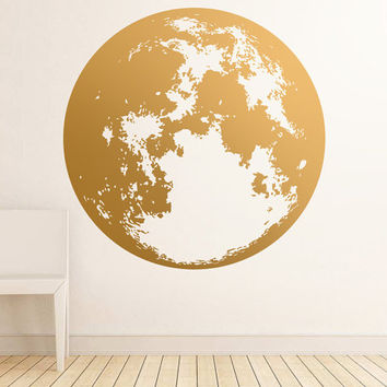 Moon Wall Decal - Gold Wall Decals, Unique Modern Decor, Silver Decals, Vinyl Decal, Large Wall Decor, Wall Stickers, Metallic Wall Decor